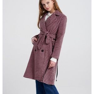 Check coat with lace up side details